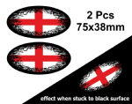 2pcs Fade To Black OVAL Design & St Georges Cross England Flag Vinyl Car sticker decal 75x38mm